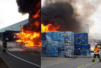 Hala vzplála od plastových beden: Plameny zastavilo 7 jednotek hasičů, jeden se zranil