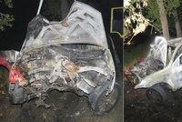 Auto po nárazu celé shořelo: Mladý řidič se spolujezdkyní unikli na poslední chvíli