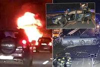 Ohnivé peklo na D1: Při hromadné bouračce uhořel řidič, další zachránili svědci!