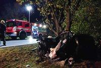Tragická nehoda za Prahou. Čelní srážku dvou aut nepřežili oba řidiči (†22 a †24)