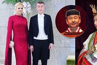 Babišová v rudé róbě a 2000 hostů. Při slávě za 3,4 miliardy uvedli na trůn císaře Japonska