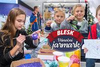 Šikovné ruce dětí v kreativních dílničkách na Jarmarku Blesku: Mami, tati, koukejte, tyhle koule na stromek dejte!