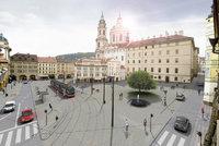 Méně aut, více stromů i kašna: Velká proměna Malostranského náměstí vyjde na 37,5 milionu