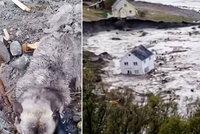 Sesuv půdy sebou vzal osm domů: Záchranáři z moře vytáhli jen psa