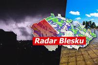 Na Česko se řítí bouřky s kroupami, sledujte radar Blesku. Kde platí výstraha?