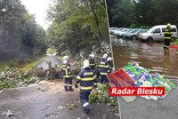 Silné bouřky udeřily, na auta padaly stromy. Hrozí i kroupy, sledujte radar Blesku
