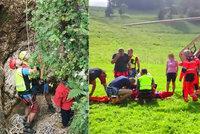 Holčička z Plzně se v horách zřítila do hluboké rokle: Vrtulník ji transportoval do nemocnice!