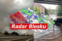 Nová výstraha: Hrozí velmi silné bouřky, krupobití a povodně. Sledujte radar Blesku