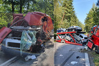 Tragická nehoda u Jihlavy: Řidič dodávky zemřel! Střetl se s kamionem