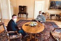 Zeman přijal v Lánech Hamáčka, proberou koronavirus i přípravy na volby