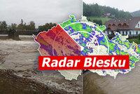 Lijáky a povodně ONLINE: Na Moravě je zle, problémy hlásí i východ Čech. Sledujte radar Blesku