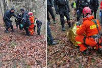 Hasiči v lese na Kladensku hledali houbaře: Podchlazeného muže našel vrtulník s termovizí