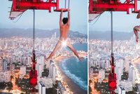 Milovník adrenalinu Adam (19): Nahý visel z jeřábu vysokého 180 metrů!