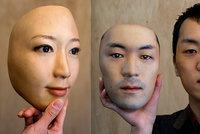 Japonec vyrábí děsivě realistické masky: Před koronavirem ale nový obličej neochrání
