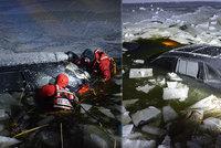 Řidič utopil porsche za miliony v rybníku: Sám se ocitl v ledové pasti
