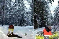 Těžká řehole středočeských záchranářů: Sanitkou se museli doslova brodit sněhem!