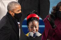 Obamová na inauguraci Bidena okřikovala manžela. Básnířka popsala, co za sporem stálo