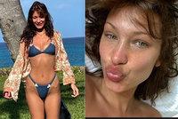 Sexy modelka Hadidová odhalila pravou tvář: Opuchlá a bez make-upu skotačila v plavkách!
