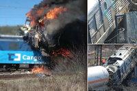 Na Ústecku se srazily vlaky a vypukl požár! Neštěstí mělo tragické následky