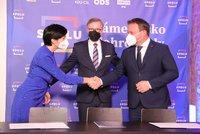 Koalice Spolu podepsala smlouvu. Čím chtějí ODS, TOP 09 a lidovci zaujmout ve volbách?