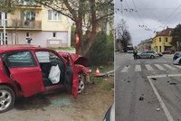 Honičku v Českých Budějovicích ukončil náraz do stromu: Řidiče uvěznil hořící vůz