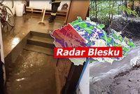 Povodňová pohotovost, lijáky na severu Moravy a další bouřky v Česku. Sledujte radar Blesku