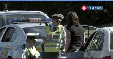 Petr Čtvrtníček berlí poukazuje na trus od holuba na autě řidičky.