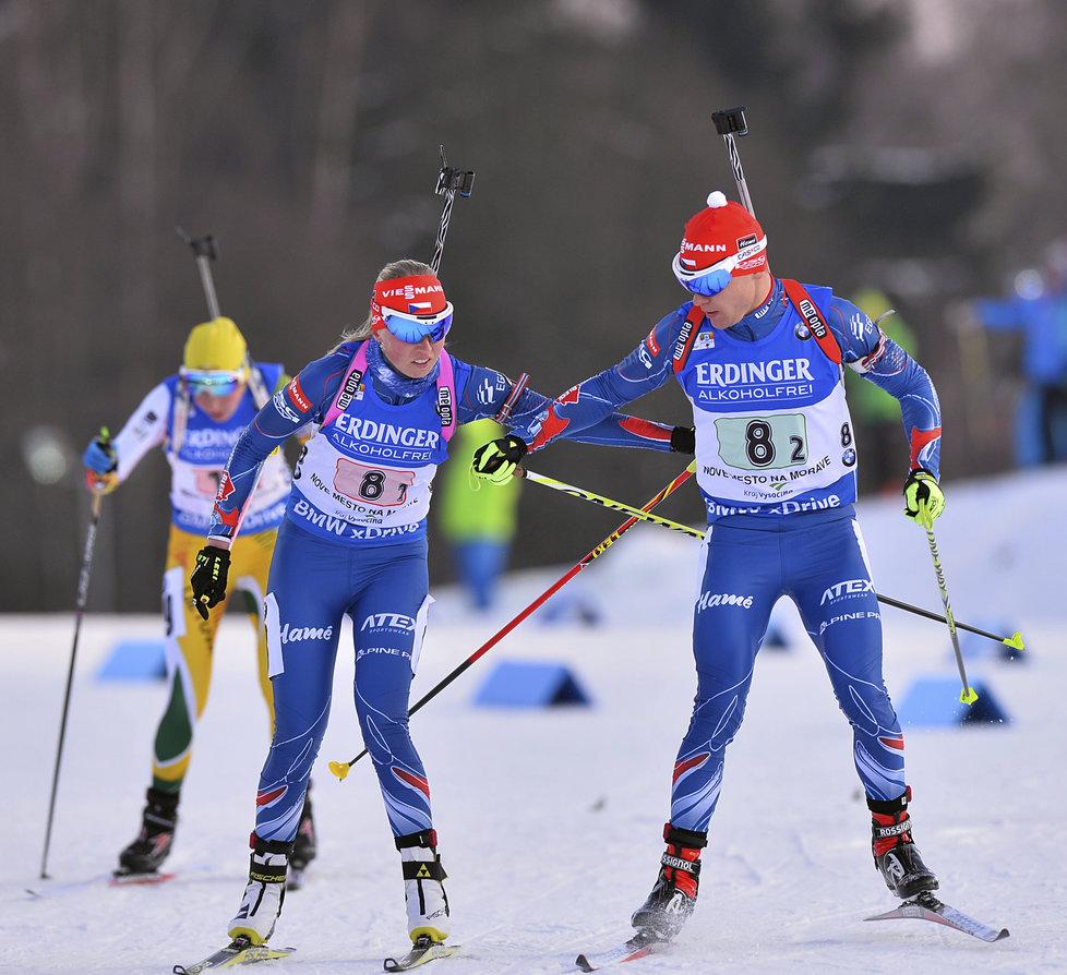 Eva Puskarčíková a Michal Krčmář v závodě smíšených dvojic