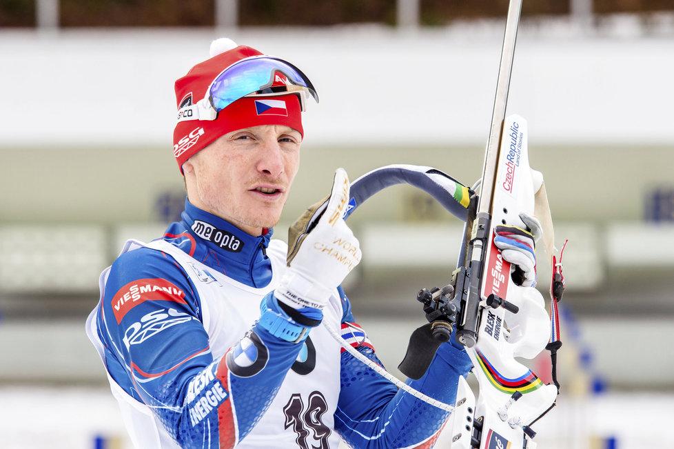 Ondřej Moravec před závodem s hromadným startem na SP v Ruhpoldingu