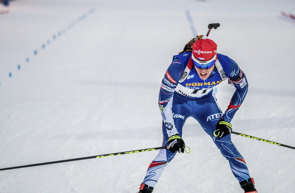 Michal Krčmář v cíli sprintu SP v Ruhpoldingu, ve kterém dojel devětadvacátý, nejlepší z českých biatlonistů