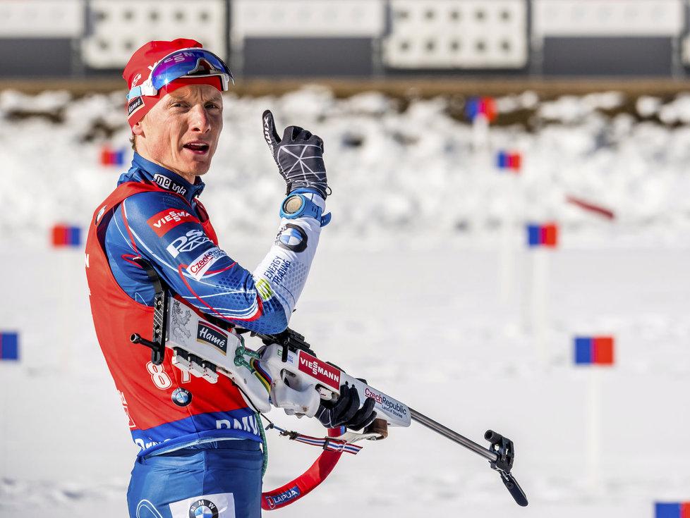Ondřej Moravec při nástřelu na sprint mužů na světovém šampionátu v Hochfilzenu