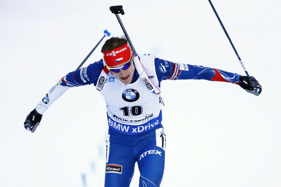Ondřej Moravec si dojíždí pro druhou příčku v individuálním závodě SP v Ruhpoldingu