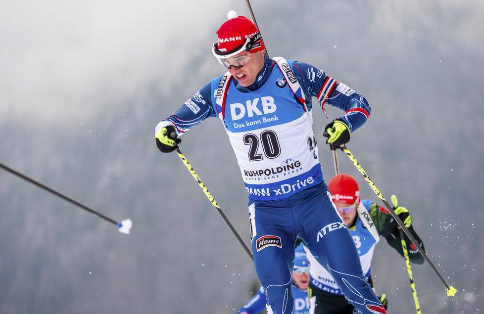 Michal Krčmář na trati závodu s hromadným startem v Ruhpoldingu