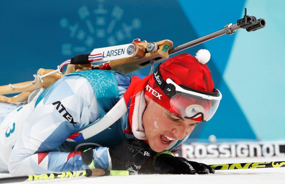 Vyčerpaný Michal Krčmář v cíli svého stříbrného sprintu na olympiádě v Koreji