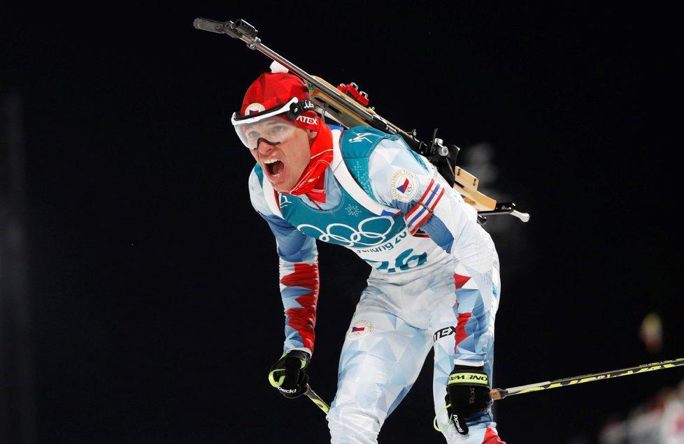 Michal Krčmář v cíli svého stříbrného olympijského sprintu