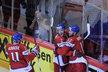 Čeští hokejisté slaví gól Zbyňka Michálka do dánské sítě