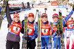České biatlonistky Eva Puskarčíková, Lucie Charvátová, Gabriela Soukalová a Veronika Vítková se radují ze druhého místa ve štafetě SP v Anterselvě
