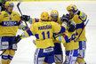Zlínští hokejisté slaví vedoucí gól Davida Šťastného