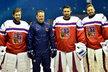 Brankářská skvadra na MS v hokeji: Pavel Francouz, kouč brankářů Petr Jaroš, Petr Mrázek a Dominik Furch