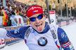 Ondřej Moravec se v cíli raduje ze své druhé příčky ve vytrvalostním závodě SP v Ruhpoldingu