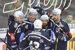 Hokejisté Plzně se radují z gólu v duelu v Boleslavi: zleva Allen Conor, Jakub Pour, Jan Kovář, Milan Gulaš a Michal Moravčík