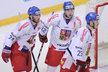 Spoluhráči gratulují Martinu Havlátovi ke gólu proti Kanadě