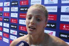 Česká plavkyně Simona Baumrtová po semifinálovém závodě na plaveckém ME
