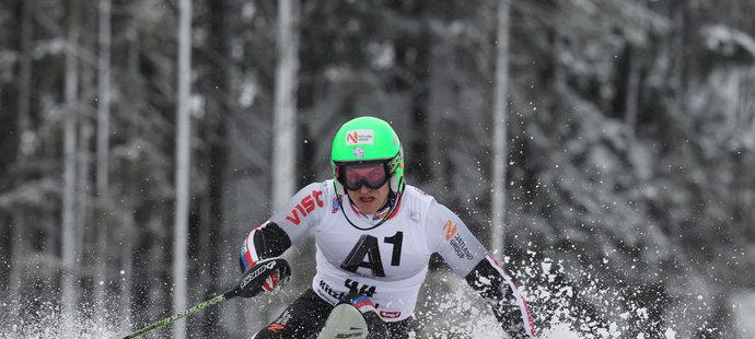 Kryštof Krýzl při závodech SP ve sjezdu na lyžích