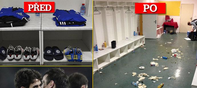 Takhle se hráči Chelsea doma asi nechovají. Po zápase na Spartě za sebou nechali pořádný binec!