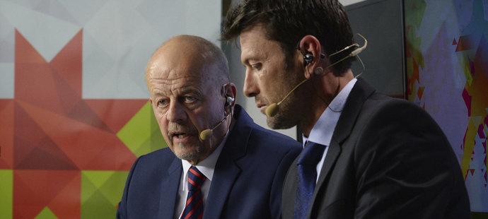 Trenér a expert České televize Marek Sýkora a komentátor David Pospíšil