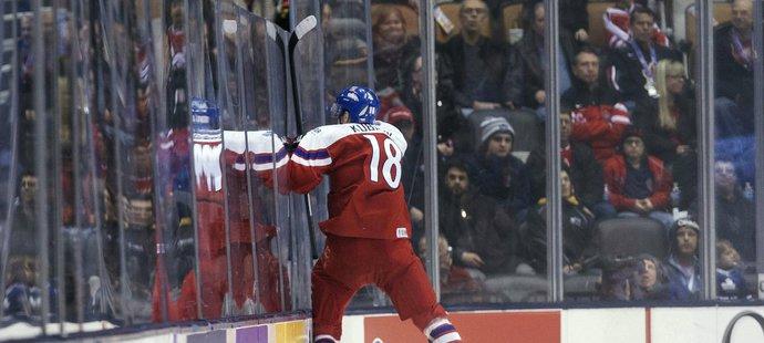 Dominik Kubalík skáče na plexisklo poté, co chvíli před koncem zápasu s Dánskem vyrovnal skóre na 3:3