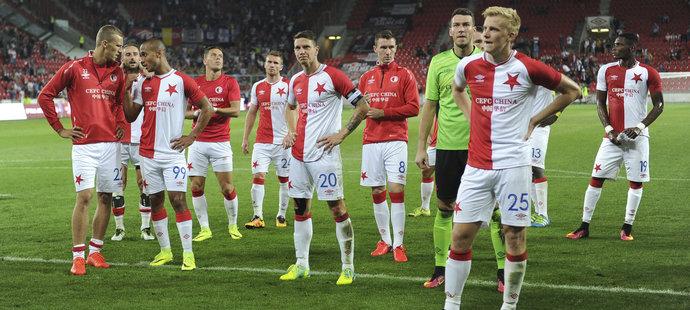 Zklamání hráči Slavie po zápase s Anderlechtem
