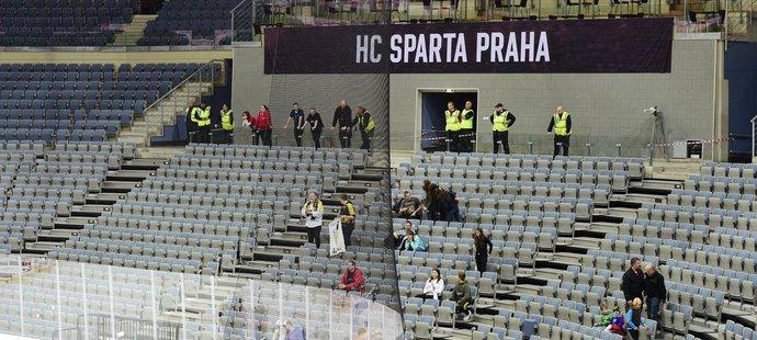 O2 arena na utkání Ligy mistrů zela prázdnotou