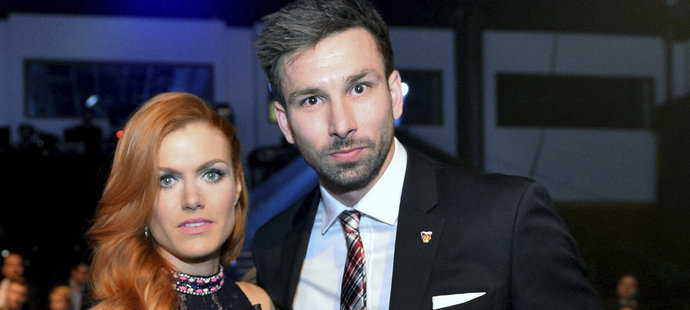 Gabriela Koukalová s manželem na vyhlášení ankety Sportovec roku